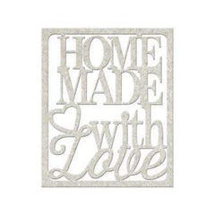 Fabscraps - Die-Cut Gray Chipboard Word Homemade With Love 3.5Inch X3inch