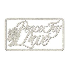 Fabscraps - Die-Cut Gray Chipboard Word Peace Joy Love; 5.5X2.5In