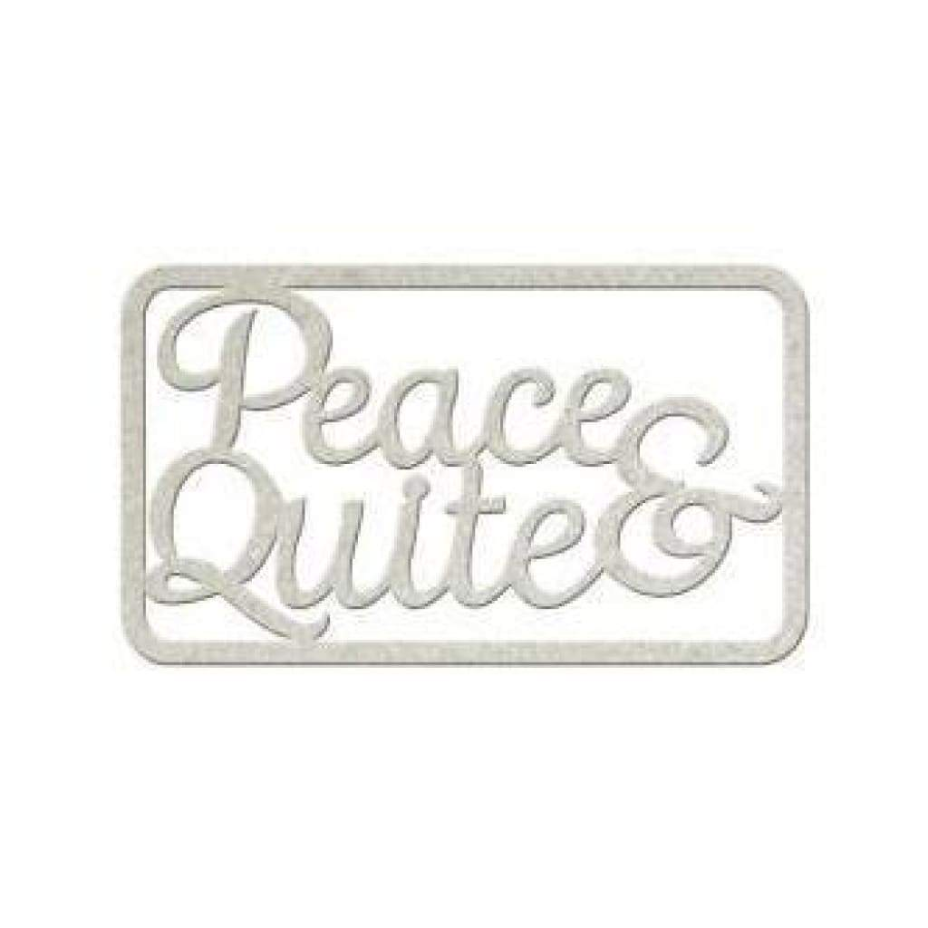 Fabscraps - Die-Cut Gray Chipboard Word Peace & Quiet 5Inch X3inch