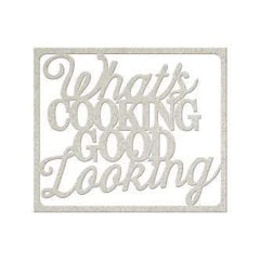 Fabscraps - Die-Cut Gray Chipboard Word What's Cooking Good Looking