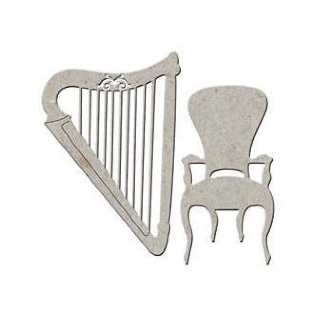 Fabscraps Die-Cut Grey Chipboard Embellishments - Harp & Chair
