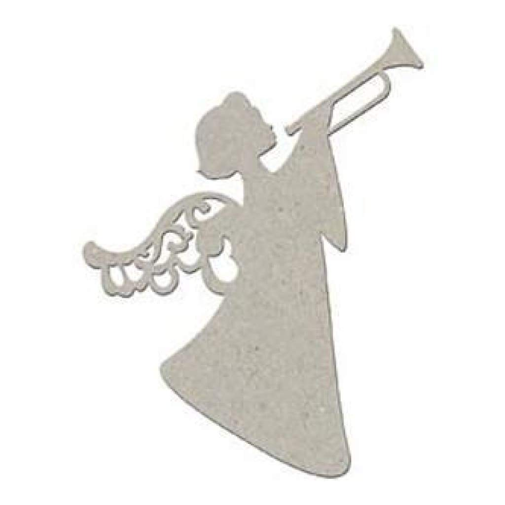 Fabscraps Die-Cut Grey Chipboard Embellishments - Trumpeting Angel 2/Pkg  4.75X3.5