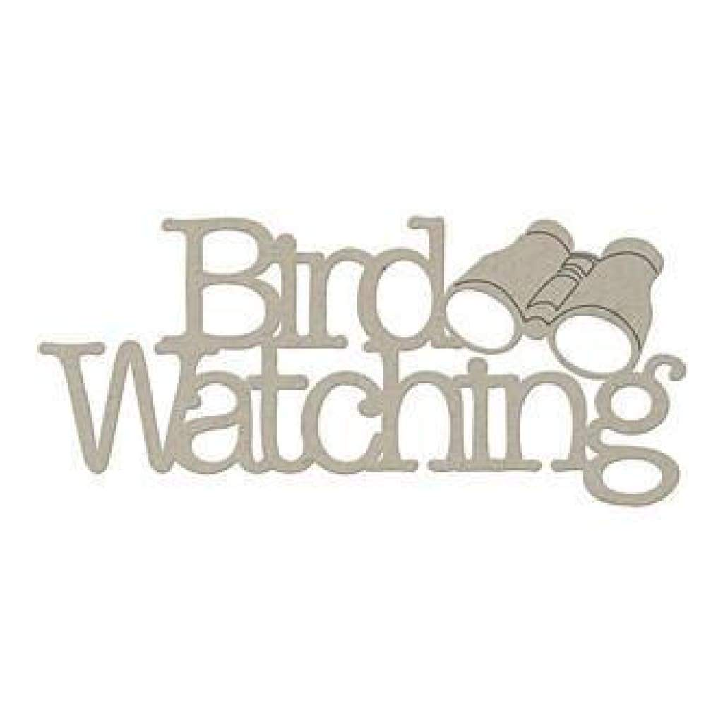 Fabscraps - Die-Cut Grey Chipboard Word Bird Watching 2.5In.X6.5In.