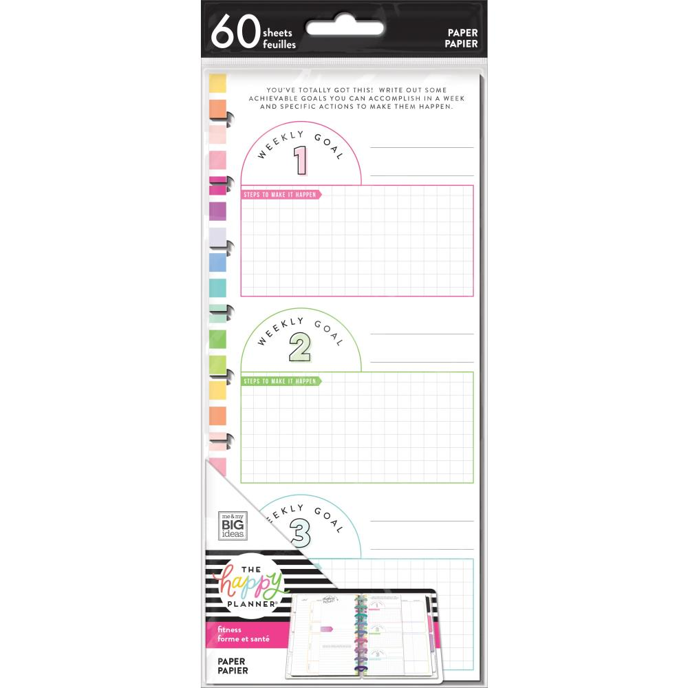 Happy Planner Medium Half Sheet Fill Paper 60 pack - Fitness