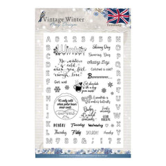 Find It Amy Design Vintage Winter Clear Stamps English Words & Phrases
