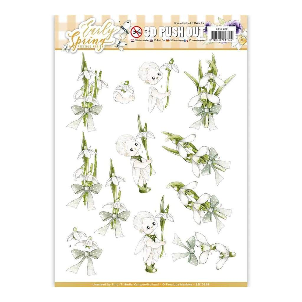 Find It Precious Marieke Early Spring Punchout Sheet Early Snowdrops