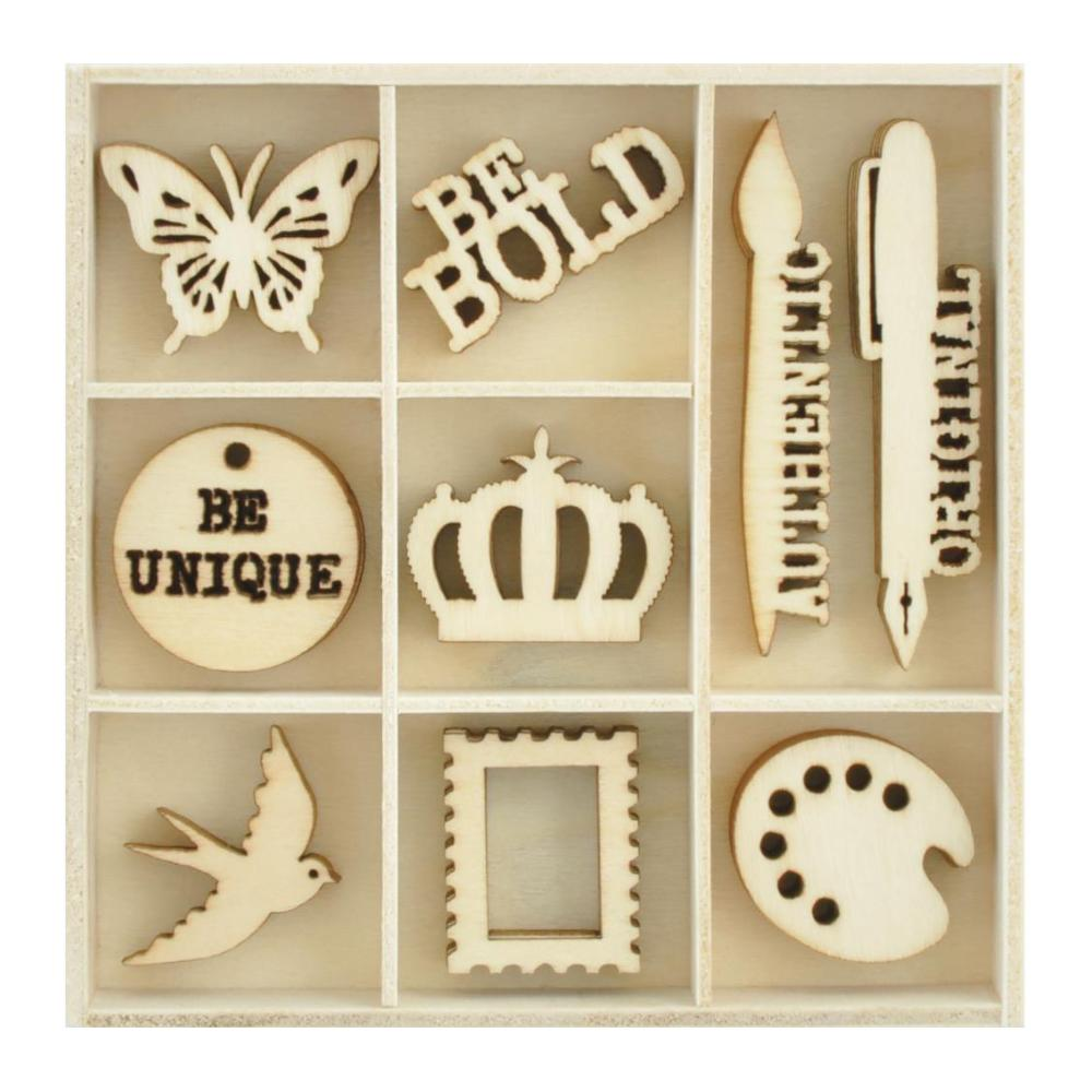 Kaisercraft - Themed Mini Wooden Flourishes 45 pack - Artist