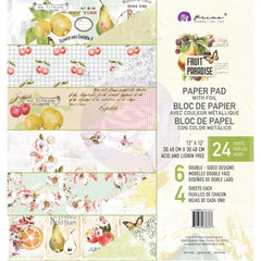 Prima Marketing Double-Sided Paper Pad 12 inch X12 inch 24 pack Fruit Paradise, 6 Foiled Designs/4 Each
