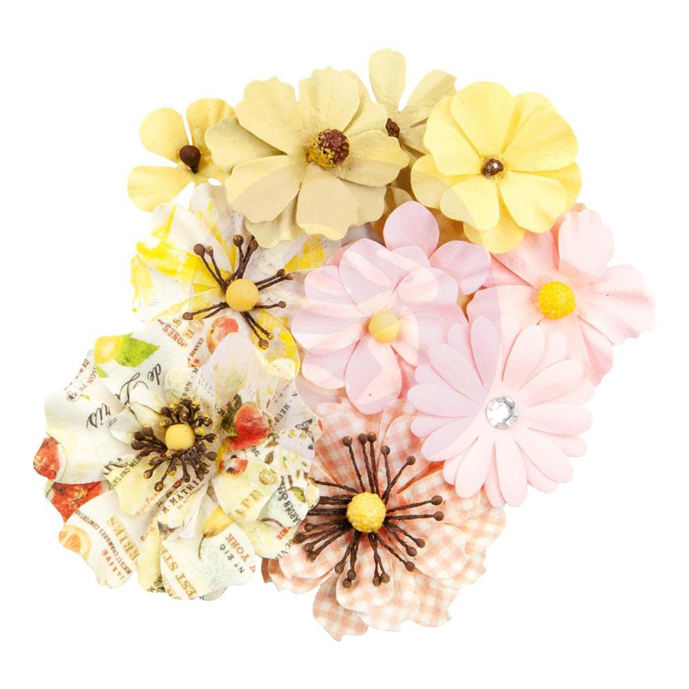 Prima - Fruit Paradise Collection - Flower Embellishments - Sunset Peach