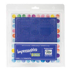 Gel Press Impressables 7 inch x7 inch Embossed Gel Plate By Palettini Squares In Squares