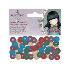 Santoros Gorjuss coloured Mixed Buttons 100 pack