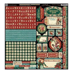 Graphic 45 - A Christmas Carol Cardstock Stickers 12Inch X12inch