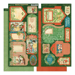 Graphic 45 - Christmas Magic Cardstock Die-Cuts 6 inch X12 inch Sheets 2 pack Tags & Pockets