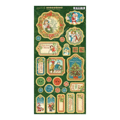 Graphic 45 - Christmas Magic Chipboard Die-Cuts 6 inch X12 inch Sheet Decorative & Journaling