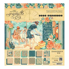 Graphic 45 Double-Sided Paper Pad 12 inch X12 inch 24 pack Cafe Parisian, 12 Designs/2 Each