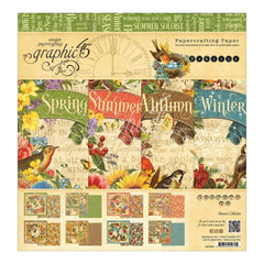 Graphic 45 Double-Sided Paper Pad 12 inch X12 inch 24 pack Seasons, 8 Designs/3 Each