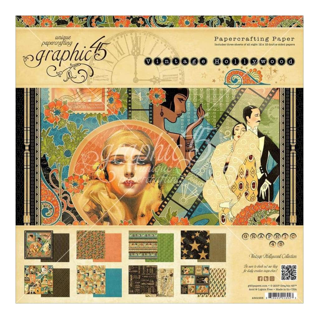 Graphic 45 Double-Sided Paper Pad 12 inch X12 inch 24 pack - Vintage Hollywood, 12 Designs/2 Each