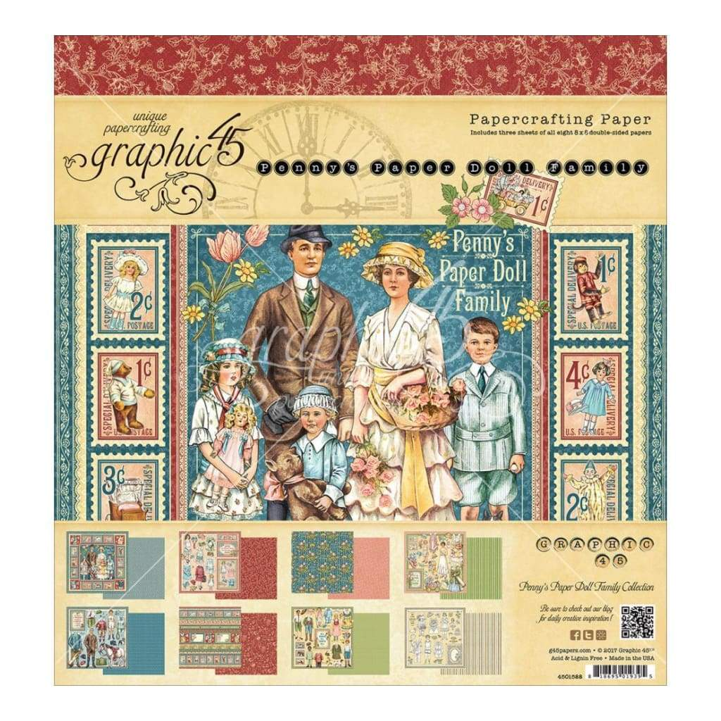 Graphic 45 Double-Sided Paper Pad 8 inch X8 inch 24 pack Pennys Paper Doll