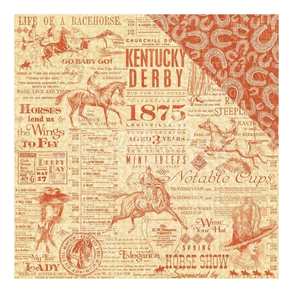 Graphic 45 - Off To The Races Double-Sided Cardstock 12 inch X12 inch - Triple Crown