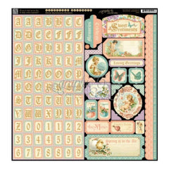 Graphic 45 Sweet Sentiments Collection - 12x12 Sticker Sheet