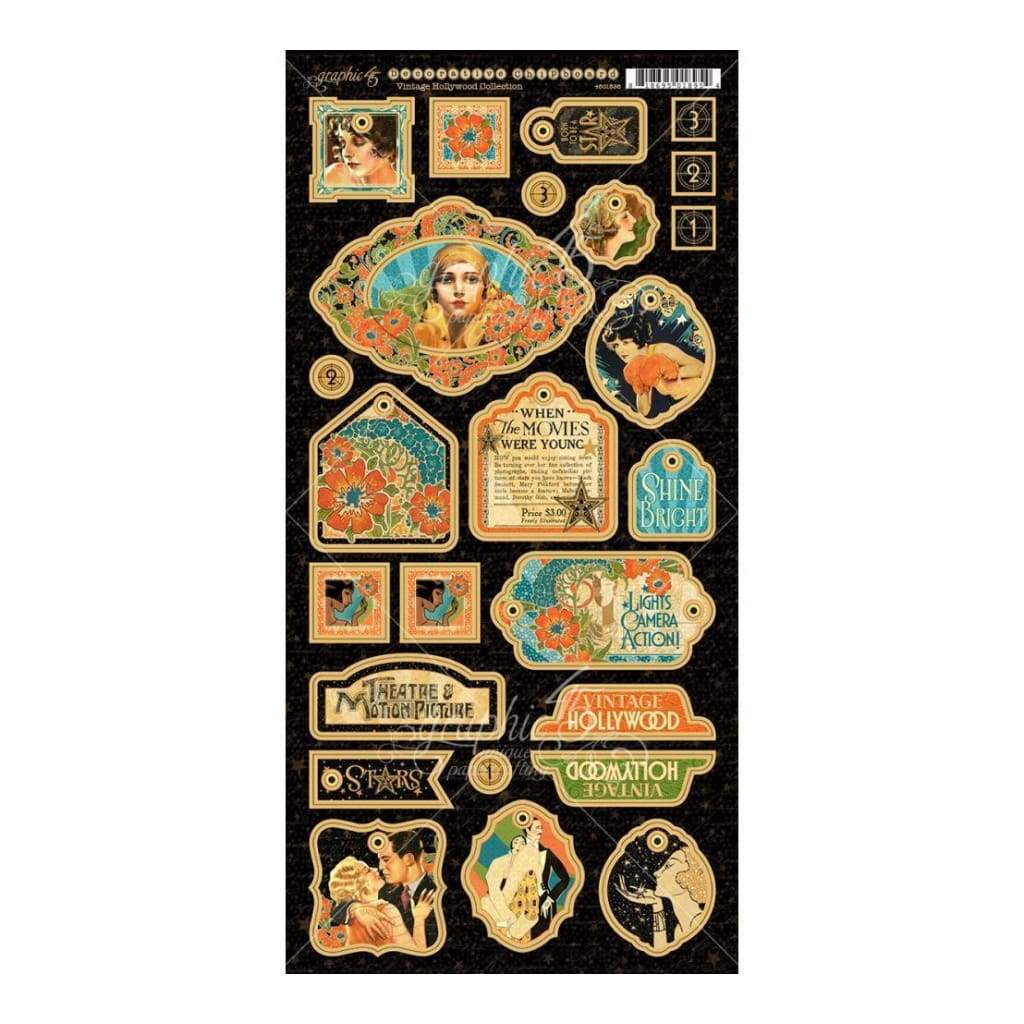 Graphic 45 - Vintage Hollywood Chipboard Die-Cuts 6 inch X12 inch Sheet Decorative