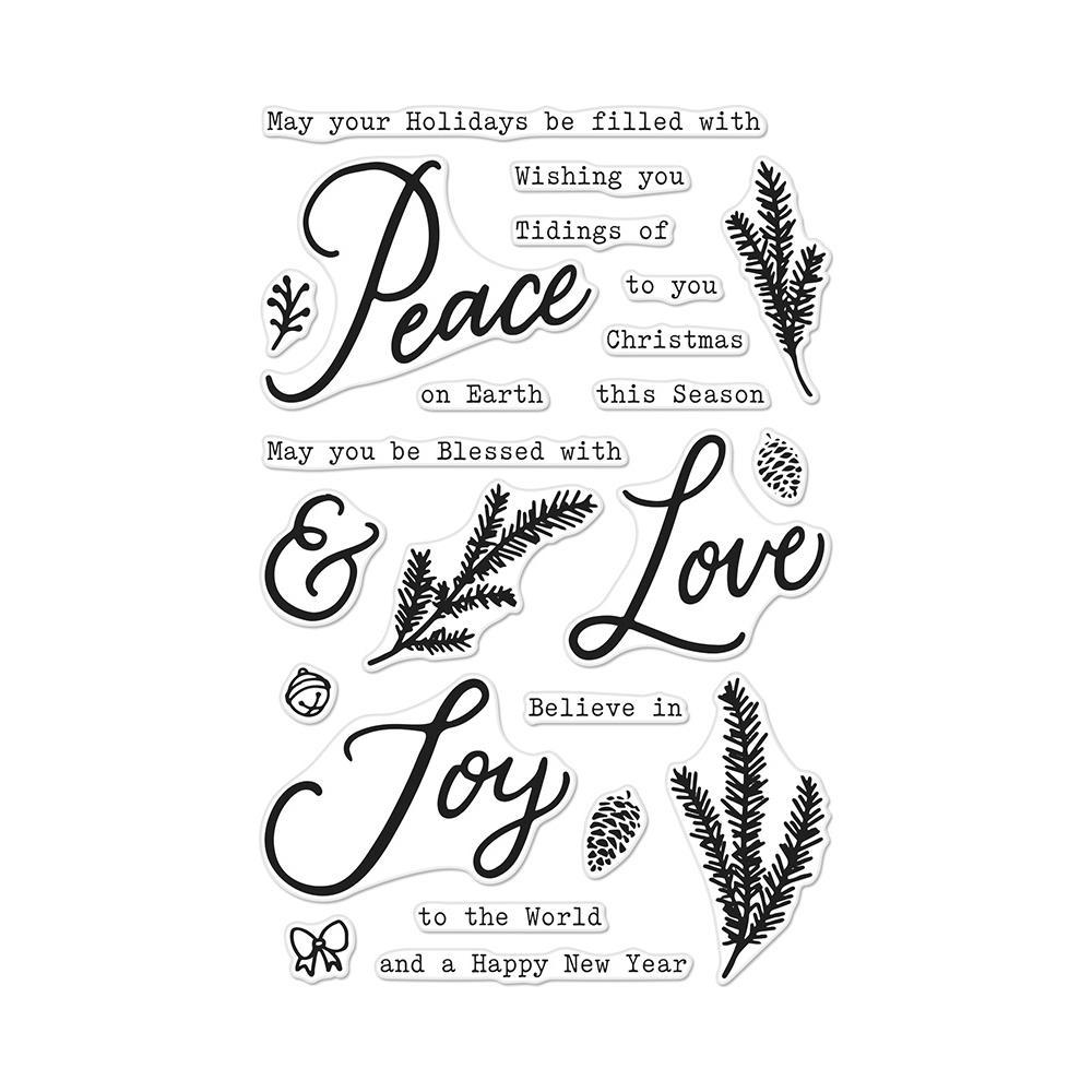 Hero Arts Clear Stamps 4inch X6inch Peace, Love & Joy