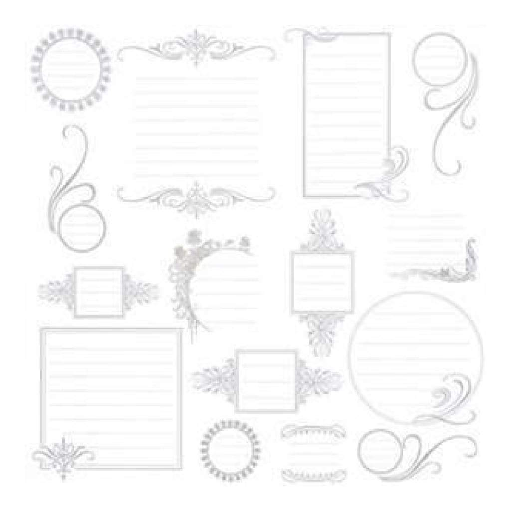 Hambly Screen Prints - 12X12 Screen Printed Paper - Journaling Bits - Metallic Silver On White (Pack Of 5)