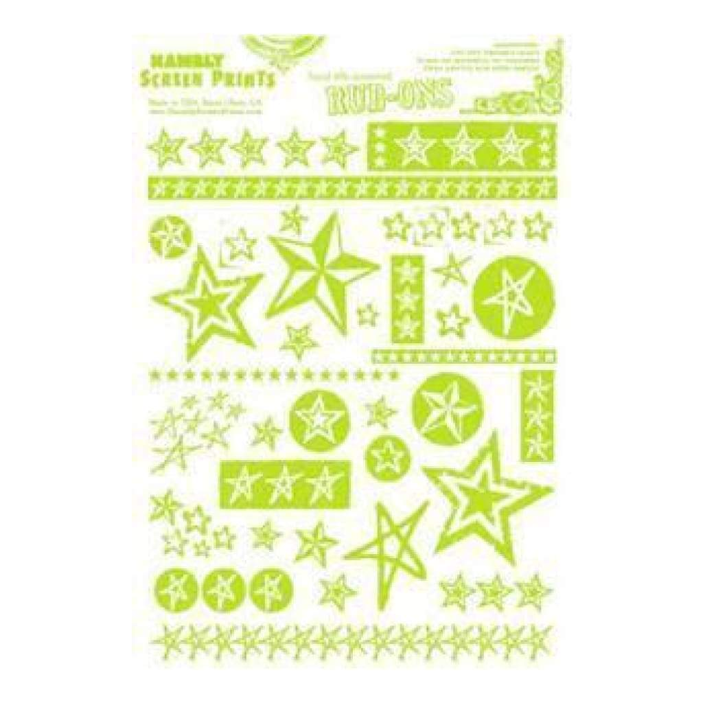 Hambly Screen Prints - Rub-Ons Stars - Lime Green
