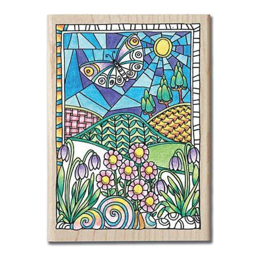 Hampton Art - Color Me Mounted Rubber Stamp 3.5Inch X5inch  Flowers