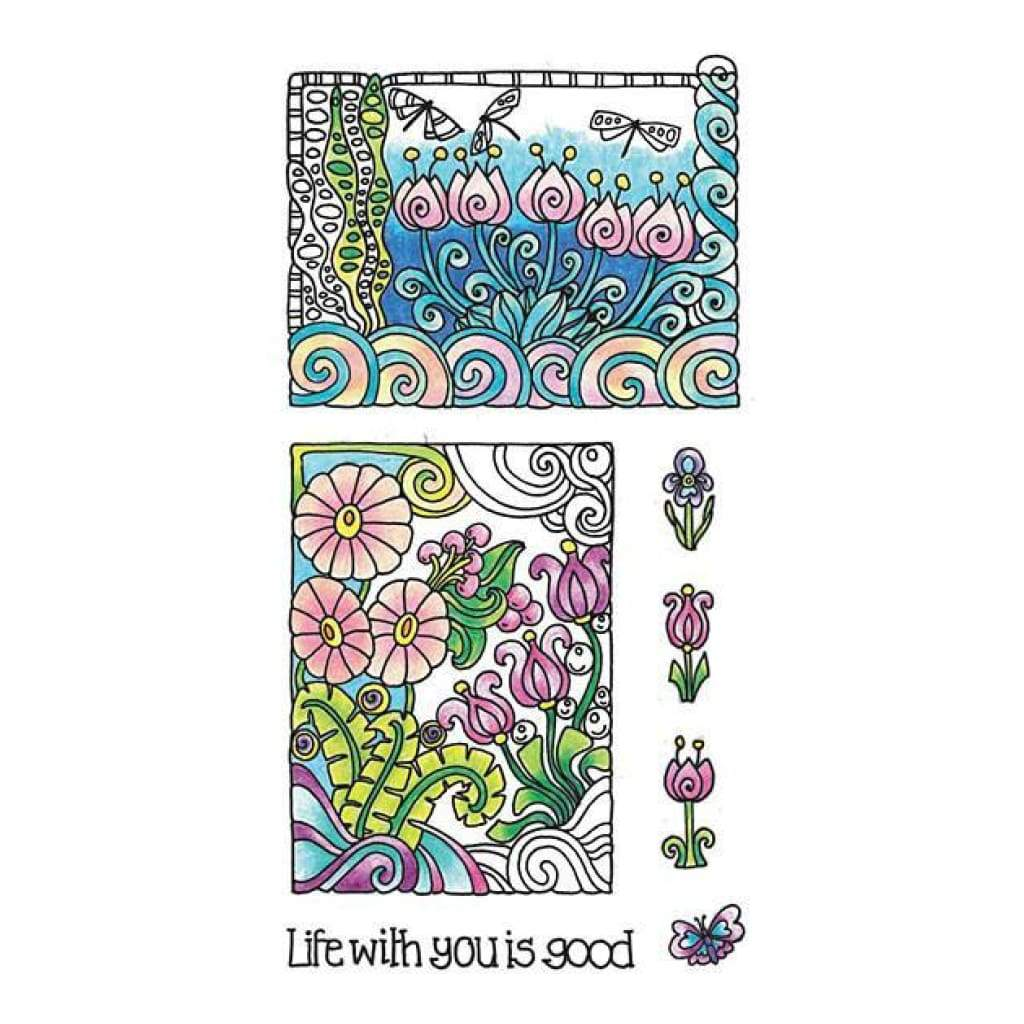 Hampton Art  - Colour Me Clear Stamps 4Inchx7.75Inch Life