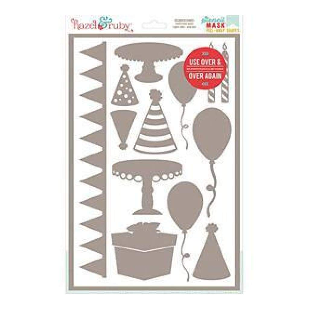 Hazel & Ruby Stencil Mask Peel Away Shapes 12Inch X8inch  Sheet Celebrate