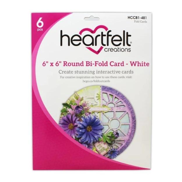 Heartfelt Creations Circle Card 6in x 6in 8 pack - Bi-Fold - White