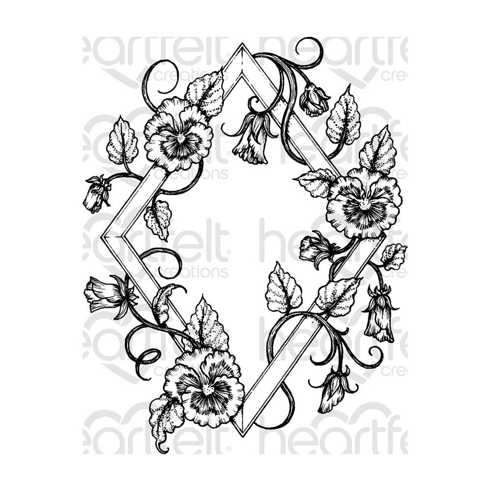 Heartfelt Creations - Cling Rubber Stamp Set - Burst Of Spring-Petite Pansy Frame
