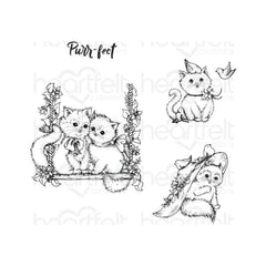 "Heartfelt Creations - Cling Rubber Stamp Set - Purr-Fect Playdate .5"" To 3.5"""