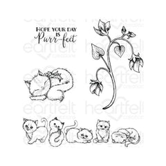 Heartfelt Creations - Cling Rubber Stamp Set - Purring & Playful 1 To 5.5in