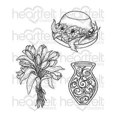 Heartfelt Creations Cling Rubber Stamp Set 5 Inch X6.5 Inch Sunrise Lily Bouquet