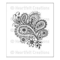 Heartfelt Creations Cling Rubber Stamp Set 5Inch X7.75Inch Peacock Paisley