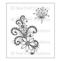 Heartfelt Creations Cling Rubber Stamp Set 5X7.75 Daisy Flourish