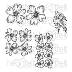 Heartfelt Creations Cling Rubber Stamp Set - Small Sweet Peony