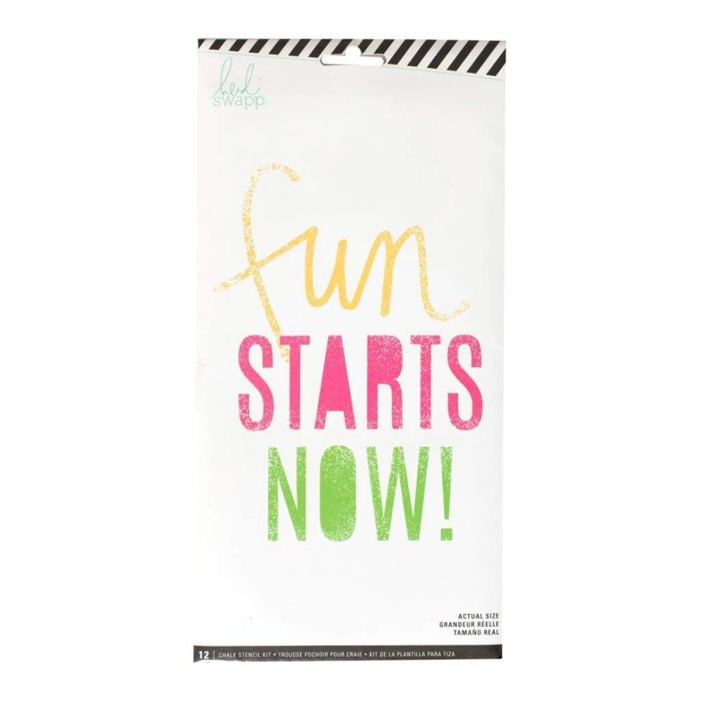Heidi Swapp Chalk Art Stencils 10.5X5.5 inch 12 Pack - Fun Starts Now