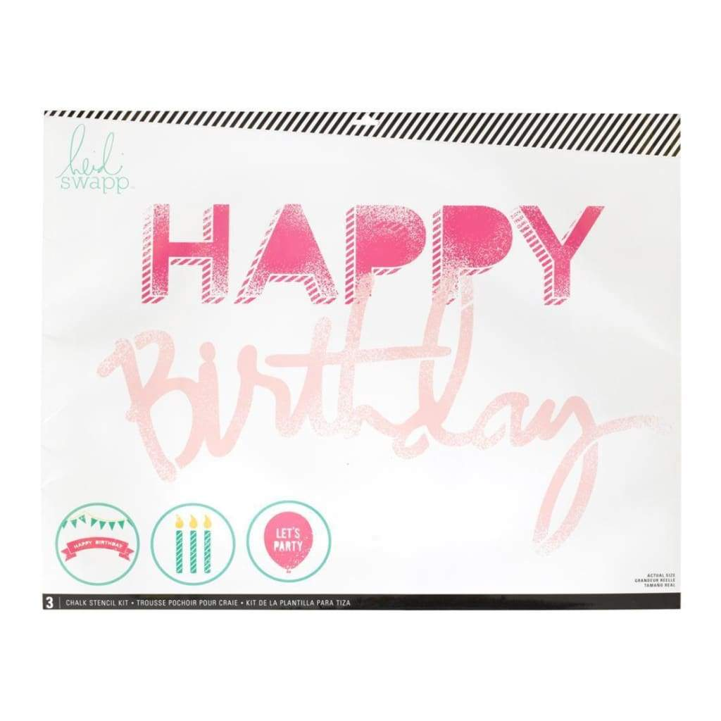 Heidi Swapp Chalk Art Stencils 27X21 inch 3 Pack - Happy Birthday