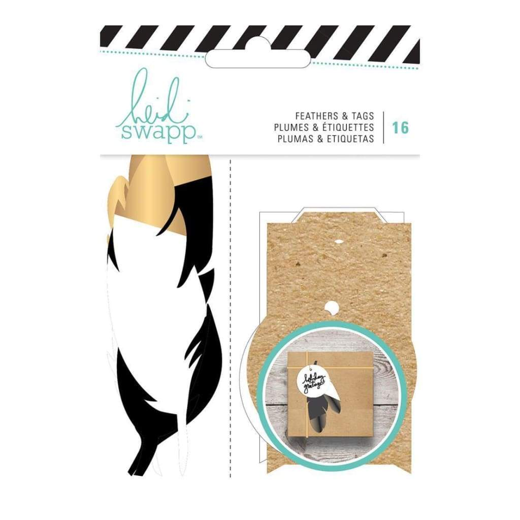 Heidi Swapp Gift Wrapping Embellishments Kit Feathers W/Gold 16 Pieces
