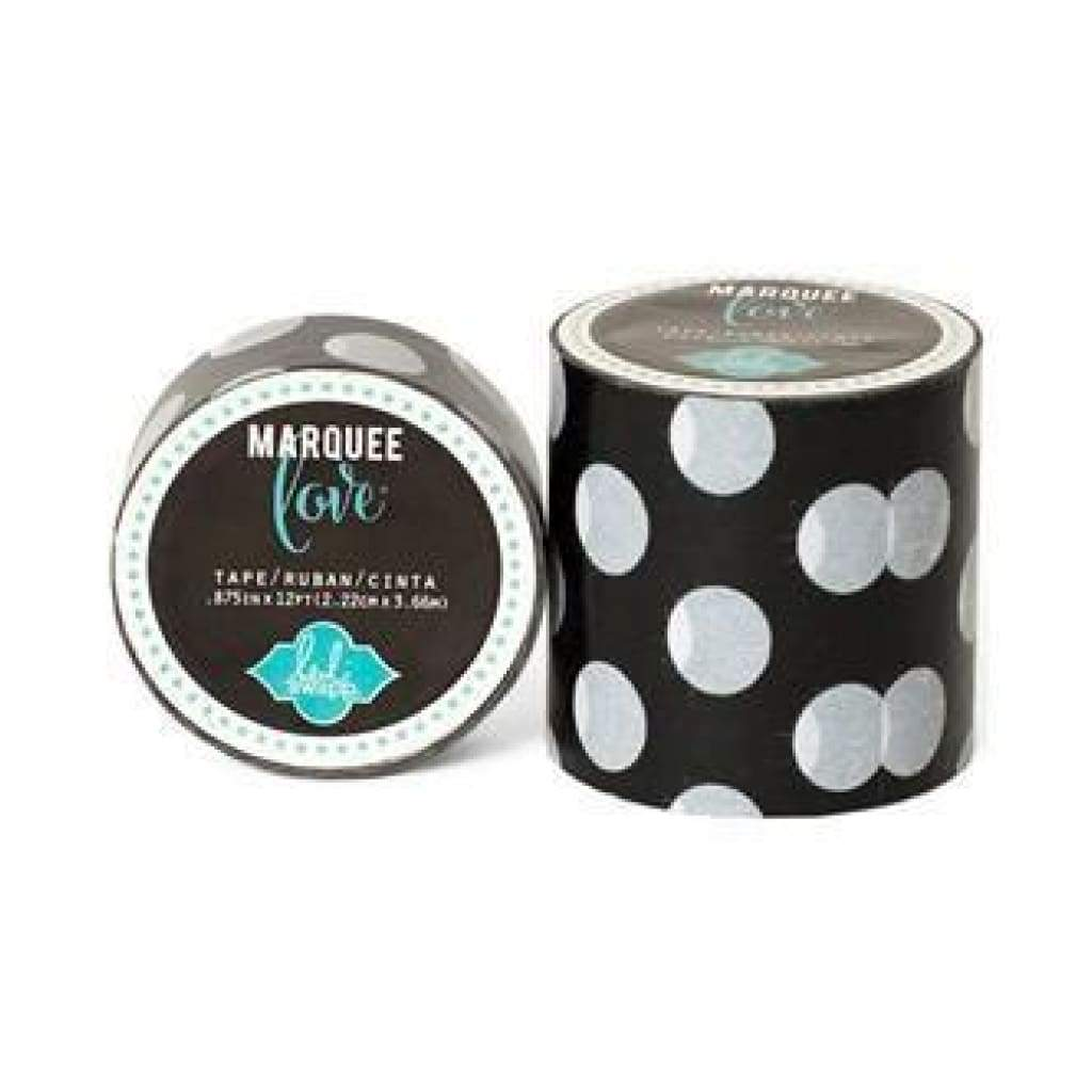 Heidi Swapp Marquee Love Washi Tape .875Inch - Black & White Polka Dot 12Yards