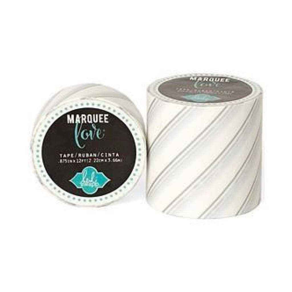 Heidi Swapp Marquee Love Washi Tape .875Inch - Silver Foil Pinstripe 12Yards