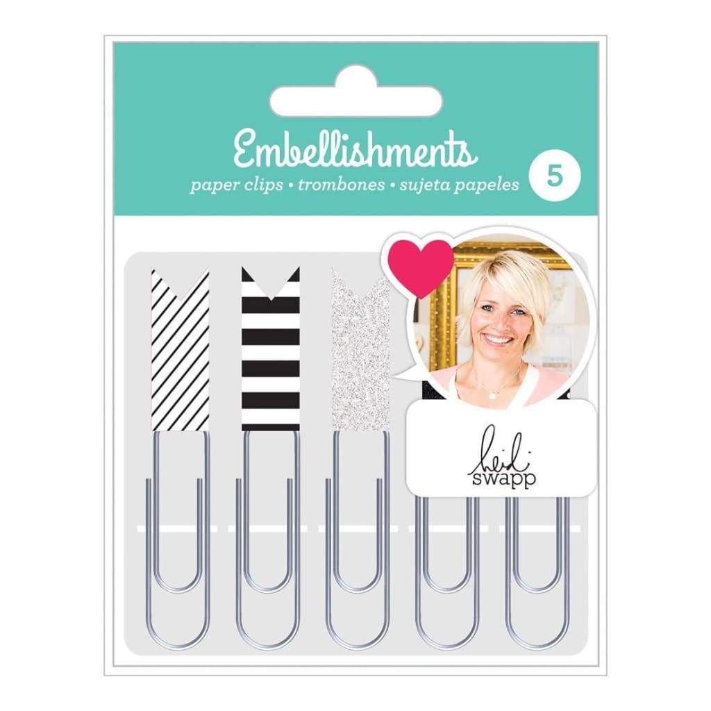 Heidi Swapp - Paper Clip Embellishment Set - Black & White Flags 5 pack