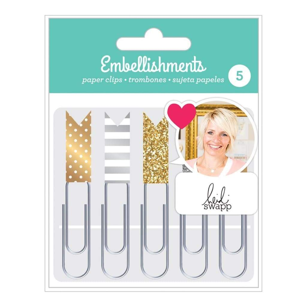 Heidi Swapp - Paper Clip Embellishment Set - Gold & Silver with Glitter & Foil Accents 5 pack