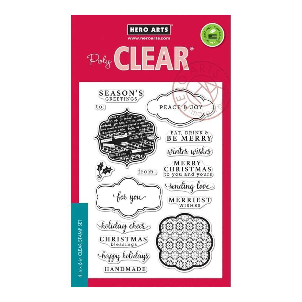 Hero Arts Clear Stamps 4 inch X6 inch Holiday Messages & Tags