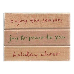Hero Arts - Script Holiday Cheer Wood Mounted Rubber Stamp Set
