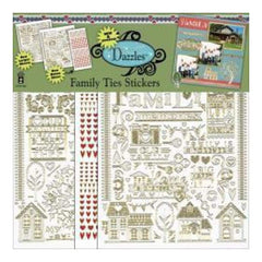 Hot of the press - Dazzles Stickers 3/Pkg Family Ties - Silver/Silver/Red