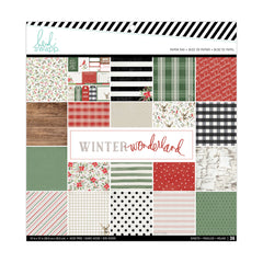 Heidi Swapp Single-Sided Paper Pad 12in x 12in 36 pack Winter Wonderland, 24 Designs